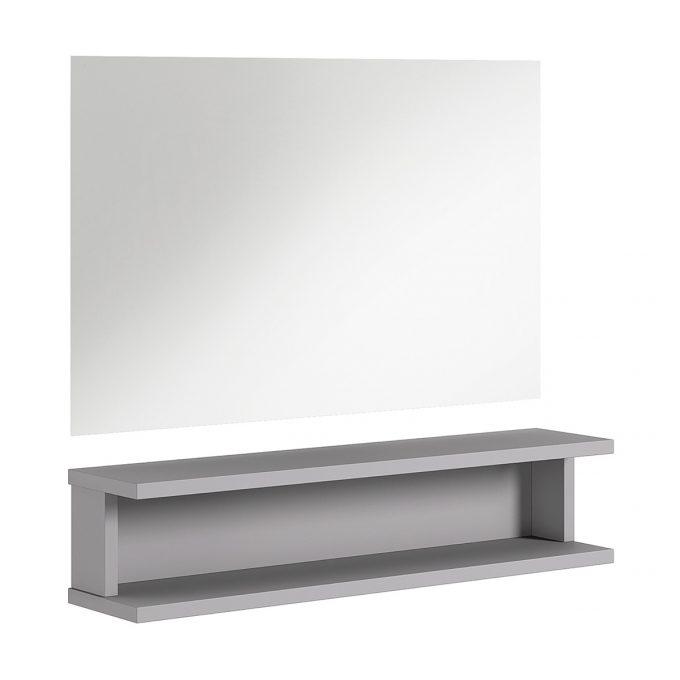 miroir rectangle et tablette en bois graphite pour salon de coiffure