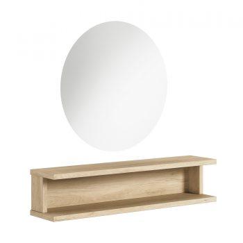 poste de coiffeur avec structure en bois et miroir rond grand diamètre