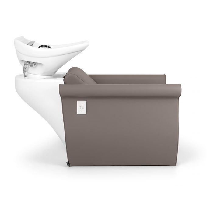 bac de lavage couleur pure, taupe avec position allongée et système de massage