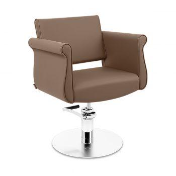 fauteuil en simili cuir taupe forme originale avec pied en métal mate et pompe hydraulique