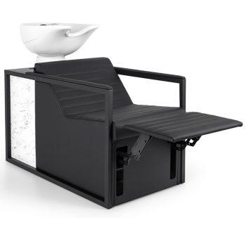 bac de lavage en métal noir avec relax repose jambe intégré