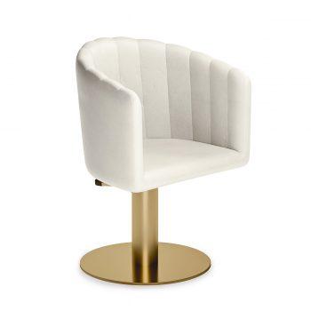 fauteuil de coiffure rétro en similicuire blanc matelassé arrondis, pied doré