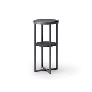 table basse Flora noir avec structure en acier peint en noir et étagère en plastique noir idéal pour poser les outils de coiffure