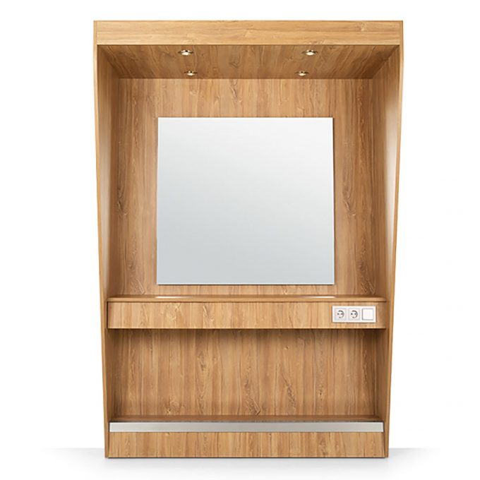 Poste de coiffure en bois stratifié avec repose pied et grand miroir avec éclairage