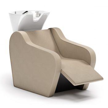 Bac à shampoing confortable et ergonomique avec vasque blanche ou noire assise large, repose jambes électrique et massage