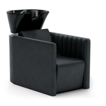 Bac à shampoing confortable et ergonomique avec vasque blanche ou noire assise large
