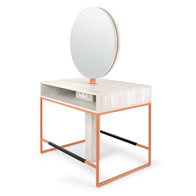 Poste de coiffage en métal cuivré avec grand miroir rond éclairage LED et tablette en bois stratifié