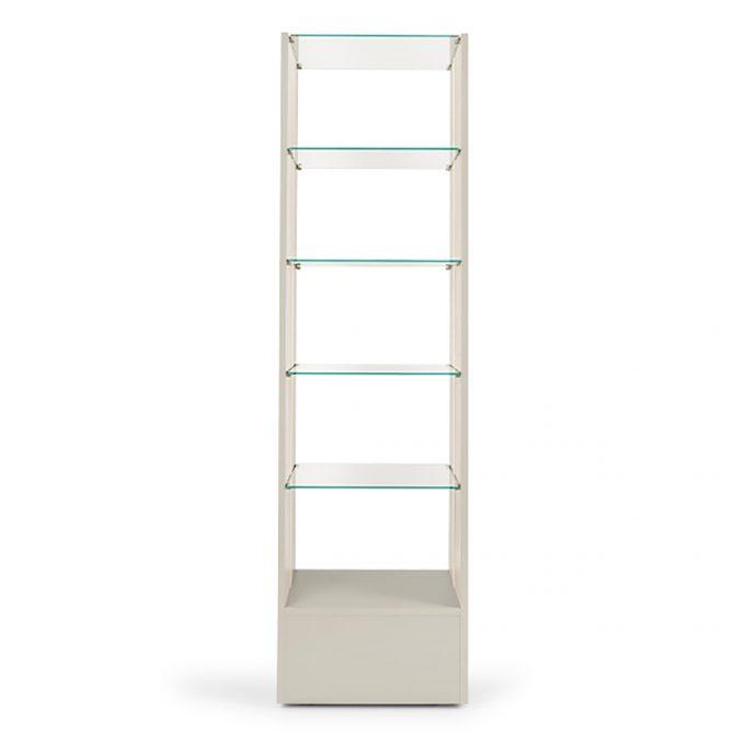 Etagère blanche en bois et en verre en colonne avec éclairage intégré