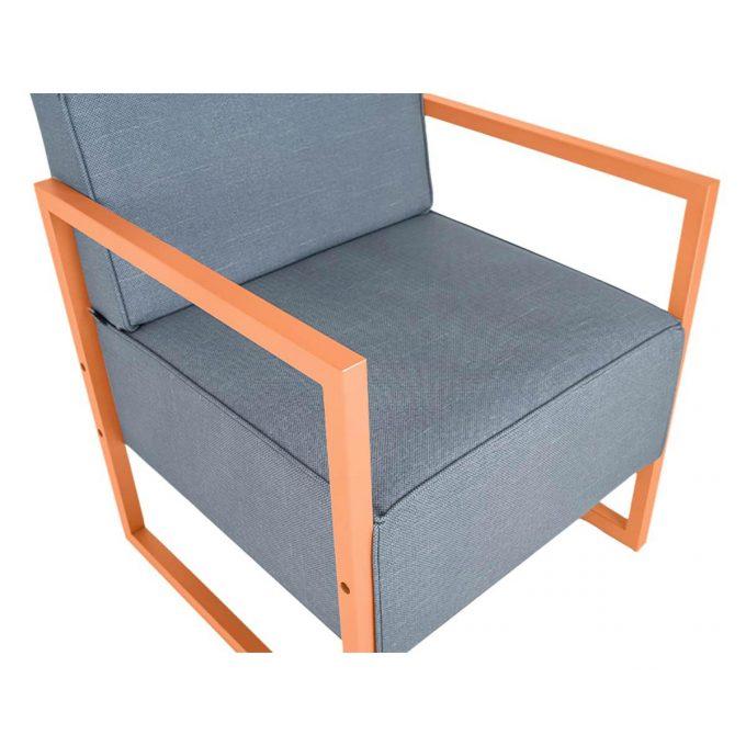 fauteuil d'attente en métal noir ou cuivré avec assise en mousse et revêtement couleur aux choix