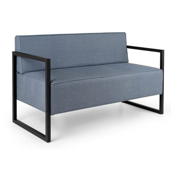 banquette d'attente structure noir ou cuivré avec assises deux places en mousse épaisse et revêtement textiles aux choix