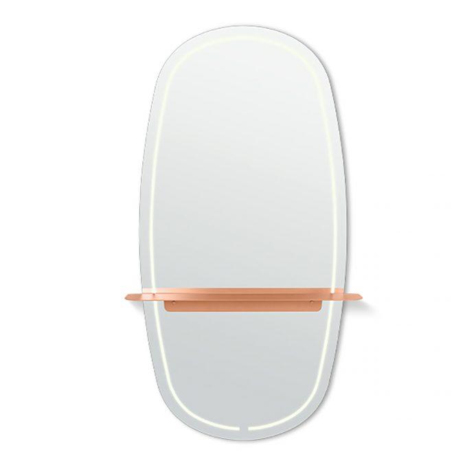 grand miroir de coiffure avec lumière et tablette en métal cuivré ou noir
