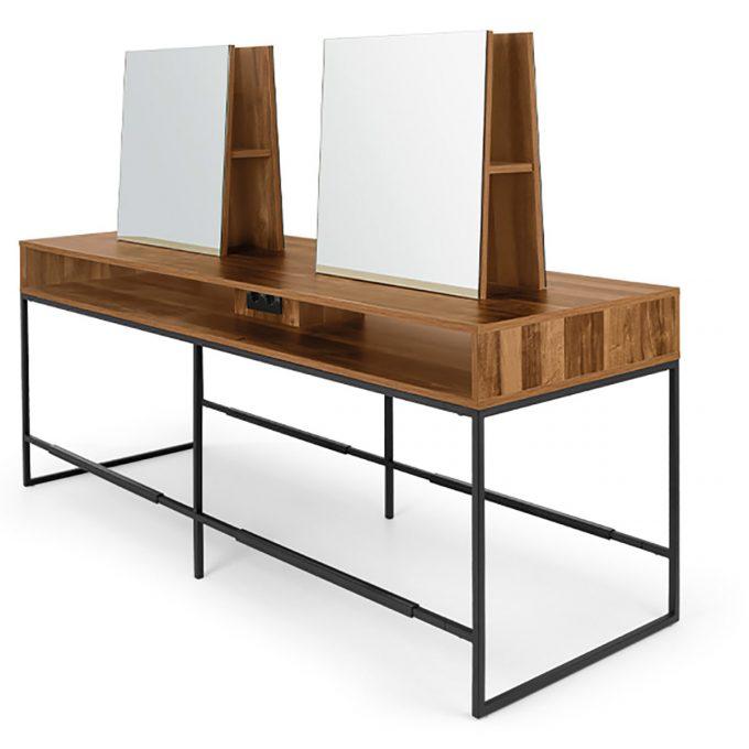 poste de coiffure 4 places en métal noir en ilot avec structure en bois stratifié repose pieds et prises incluses