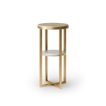 table basse de rangement pour coiffeur, structure en acier doré avec plateau en marbre onyx et plateau intermédiaire en stratifié plati
